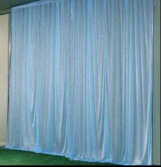 Blue pink white backdrop veil curtains 3x3m
