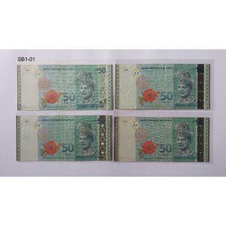 RM50   **AA xxxxxxx  4pcs 11TH SERIES ( Siri Kesebelas )2000-2012   50TH Anniversary logo   1957-2007