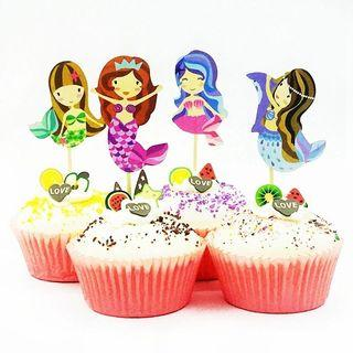 Ariel under the sea Mermaid theme party supplies - cupcake dessert toppers / party deco