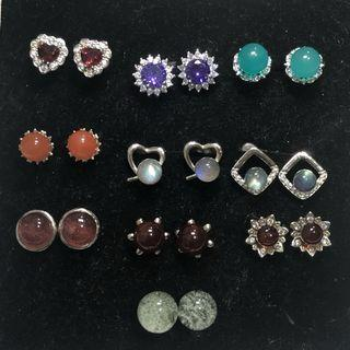 Natural crystal stone earstuds 水晶耳钉