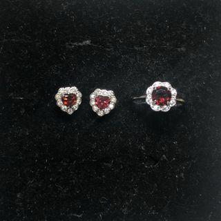 Natural Garnet faceted earstuds & ring set 石榴石戒指耳钉套