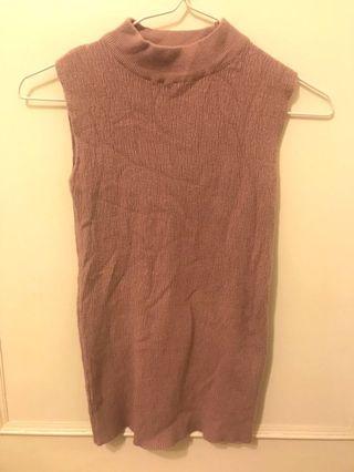 粉芋色針織無袖上衣