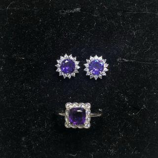 Natural amethyst faceted earstuds and ring set 紫水晶耳钉戒指套