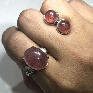 Natural strawberry quartz earstuds and ring set 草莓晶戒指耳钉