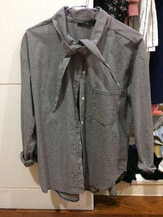🚚 Queen shop 綁帶黑白格紋襯衫