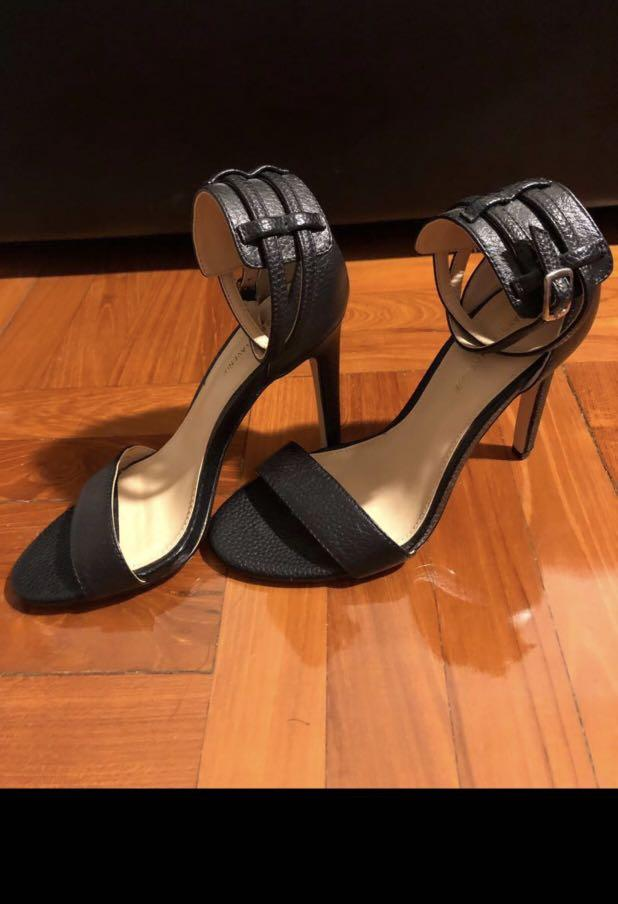 Ankle strap heel/stiletto - black leather - Saks 5th ave $150