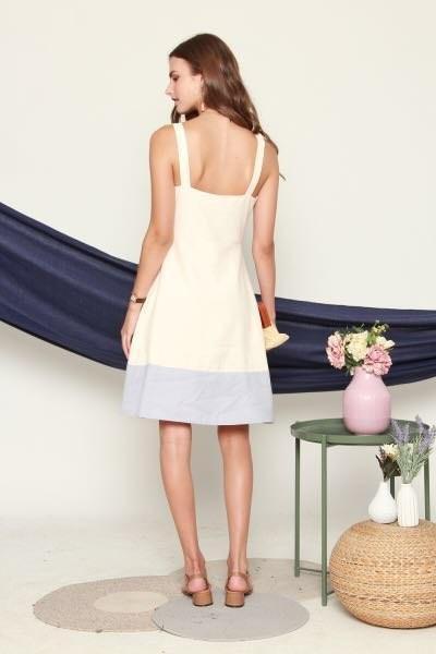 Anticlockwise colour block button down midi dress in cream and ash blue