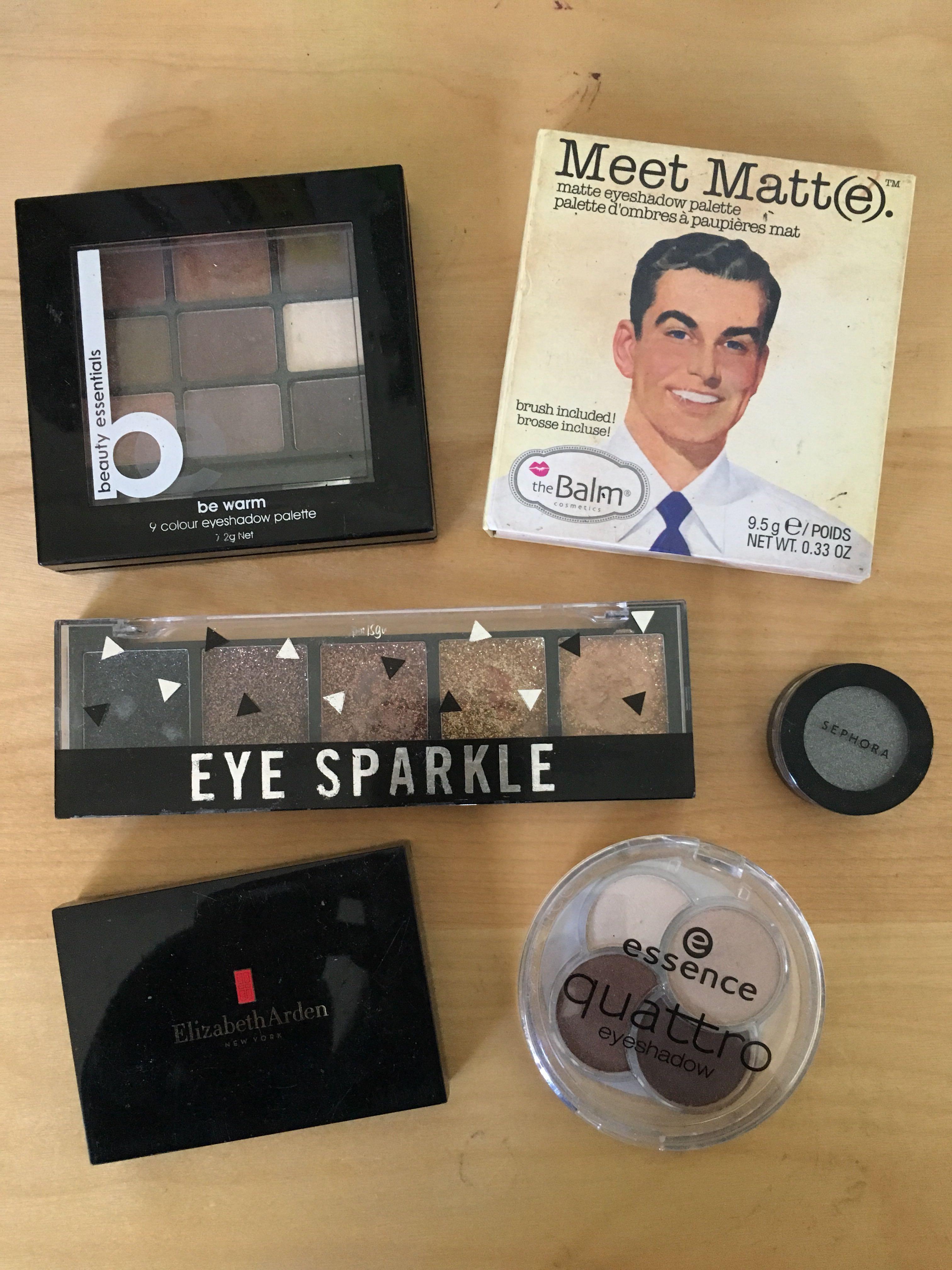 Assorted eyeshadows - Elizabeth Arden, Sephora, the balm