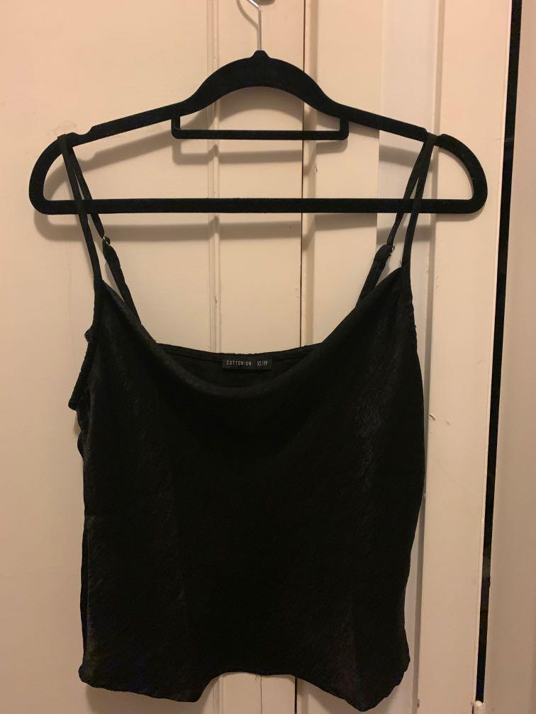 black cowl neck cami