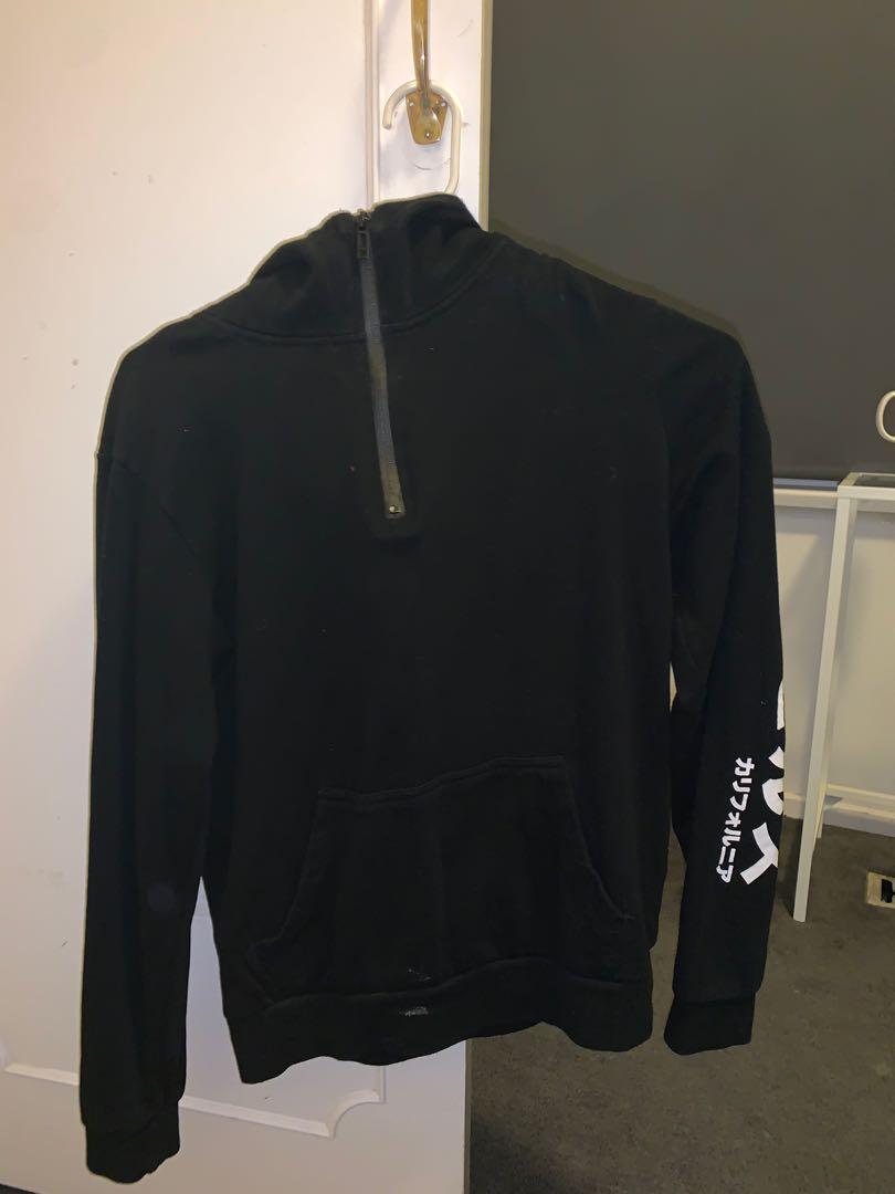 black zip up hoodie