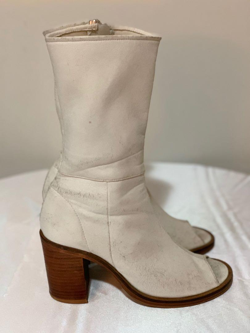 KitX White Leather Calf Boots Size 39 Made in Portugal
