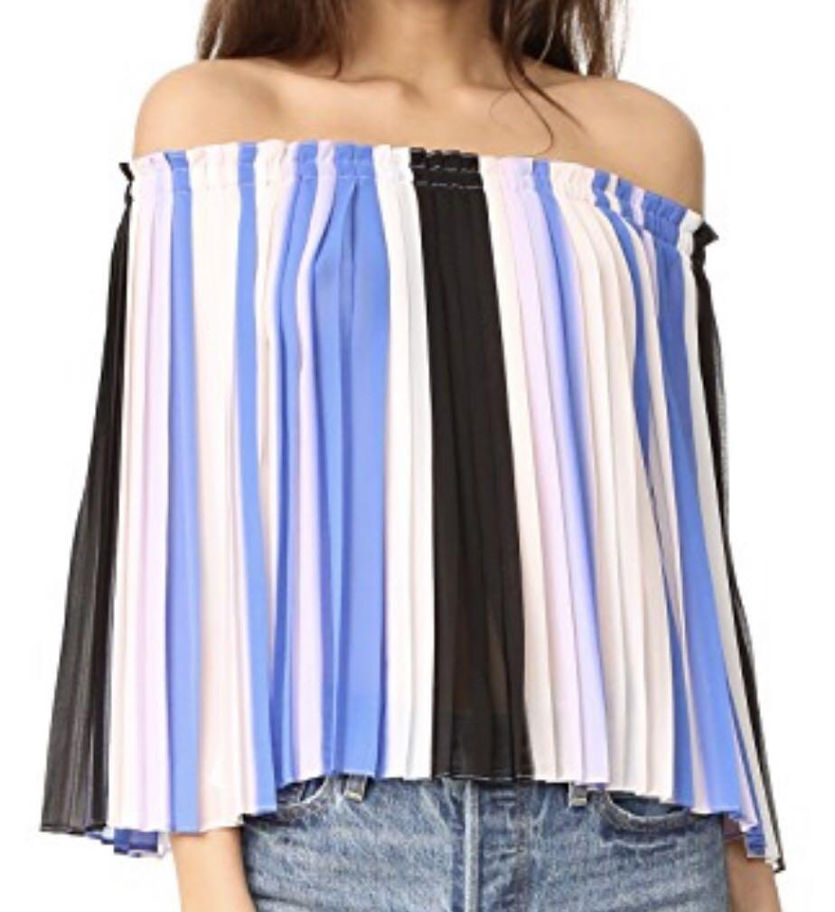 LIKE NEW: Club Monaco silk pleated off-shoulder blouse - Size 2