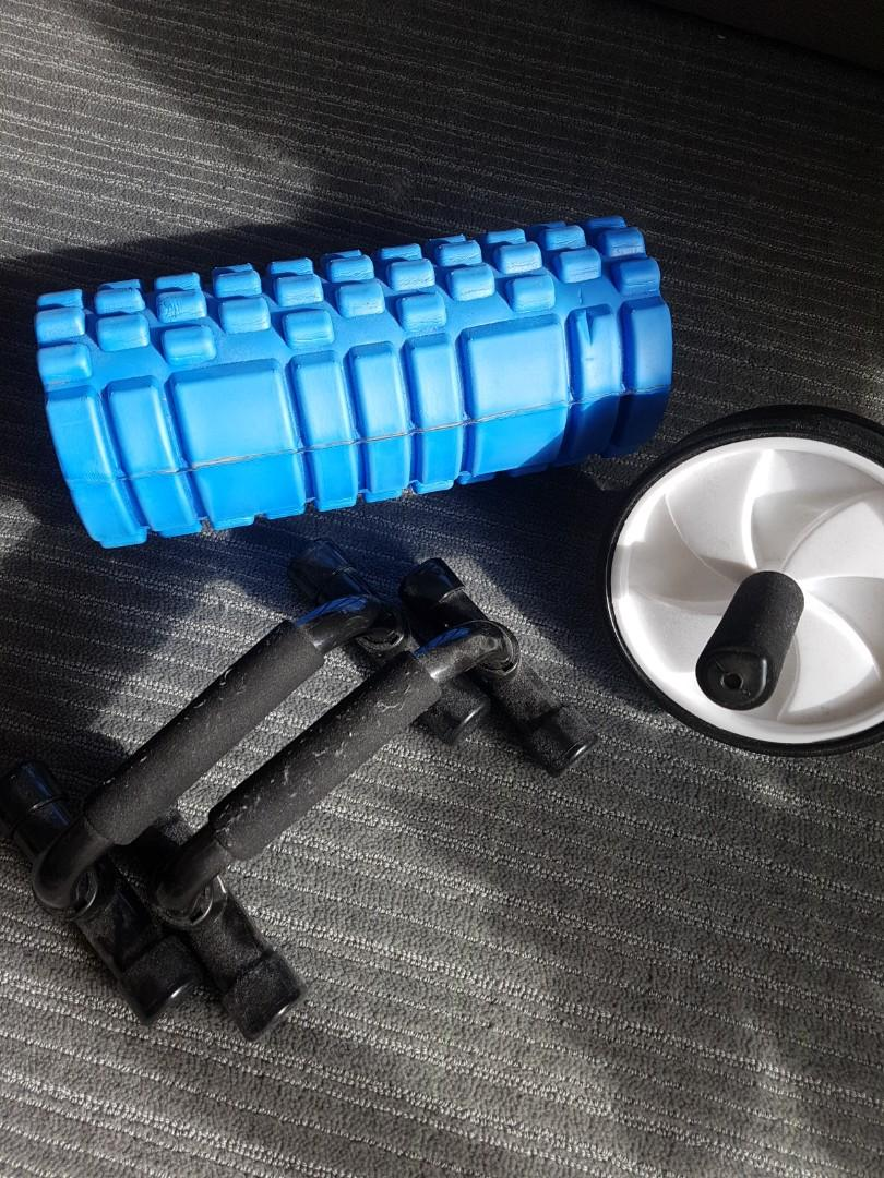 Lot of foam roller, mini parallel bars and abs roller