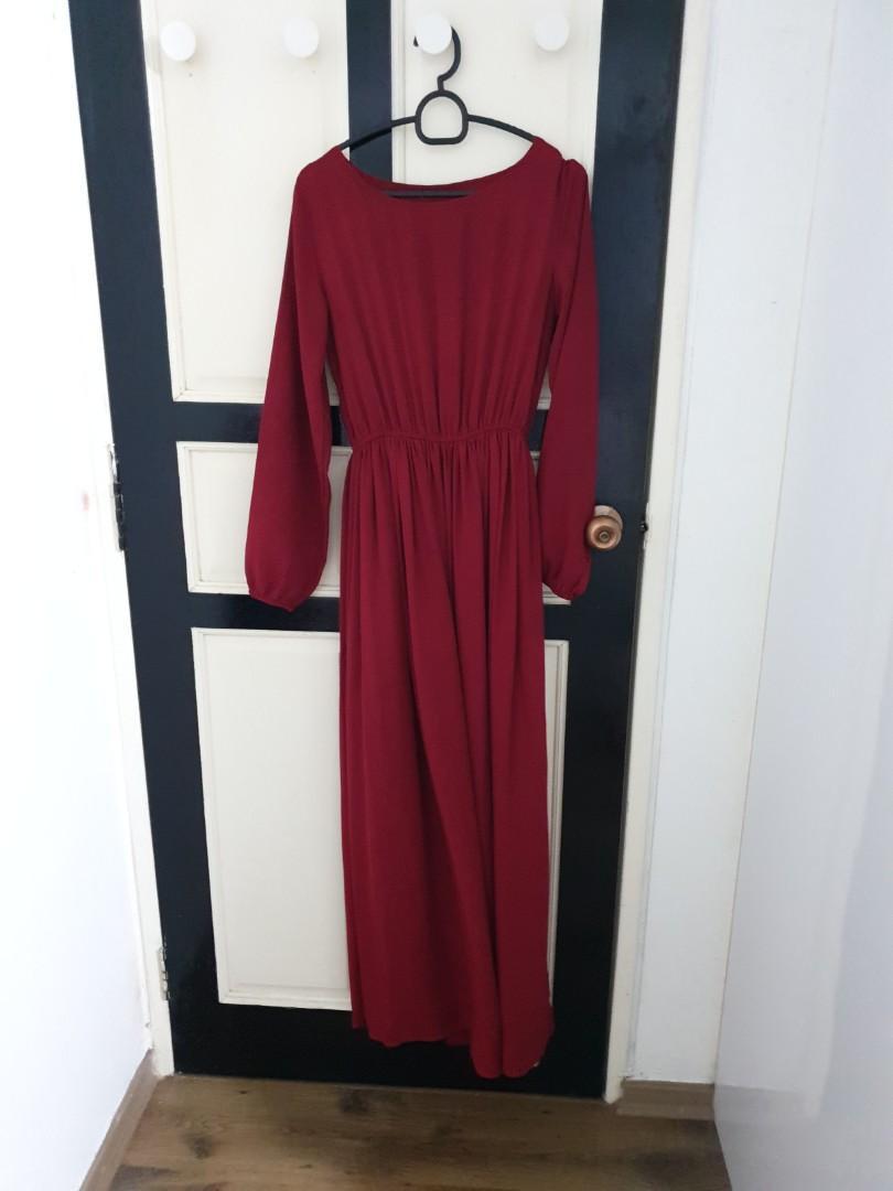 Maroon Chiffon Long Dress