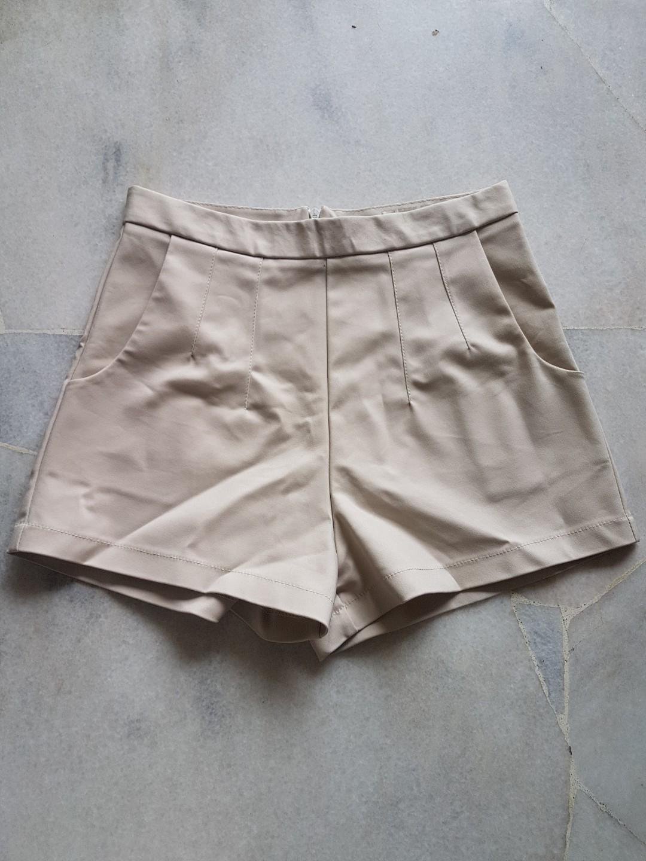 Nude high waisted dress shorts #1010
