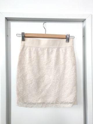 Beige Lace Bodycon Skirt