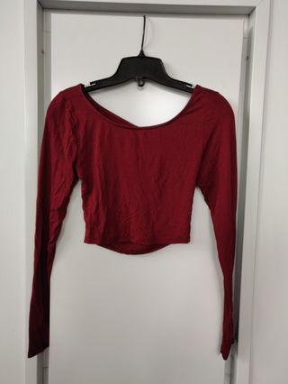 Tobi Maroon Crop Top with Open back Bow detailing