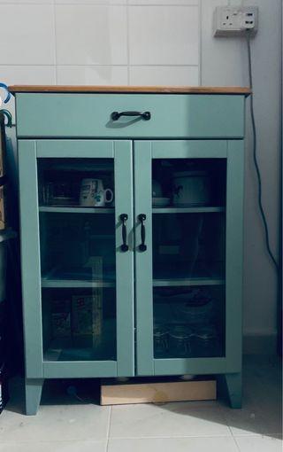 Zakka Vintage Look Teal Color Kitchen Glass Cabinet #space