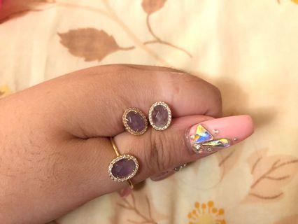 Silver Gold Plated Ring and Earring Set