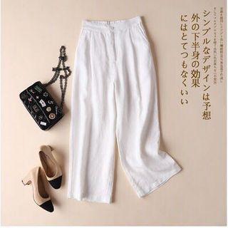 無印感 chic白色寬褲 闊腿褲 棉麻