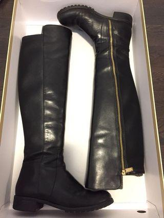 Black Leather Michael Michael Kors Joanie Boots