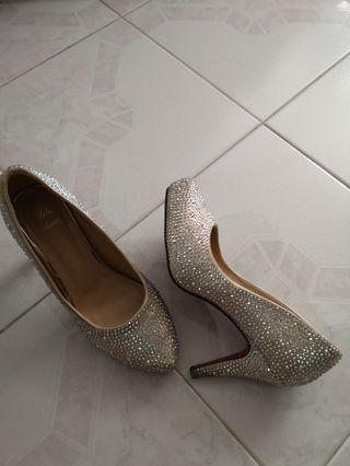 Champagne gold bling Bling wedding shoes