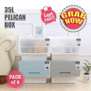 Clear Bundle Of 4 35L Durable & Stackable Pelican Box with Front Opening