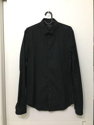 Zara Superslim Fit 修身 全黑 長袖襯衫