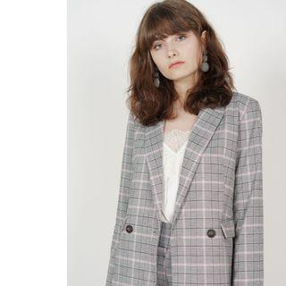MDS Contemporary Buttoned Blazer in Grey Pink
