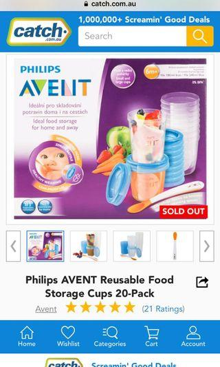 Philips AVENT Baby Food Storage Cups 180/240 ml - Pack of 20