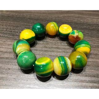 罕有特殊瑪瑙 黃綠瑪瑙手鍊