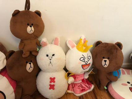 Line friends 雪人兔兔及熊大公仔