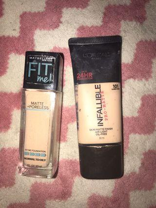 2 PCS 150 rb . FOUNDATION MAYBELLINE  FIT ME & LOREAL INFALLIBLE