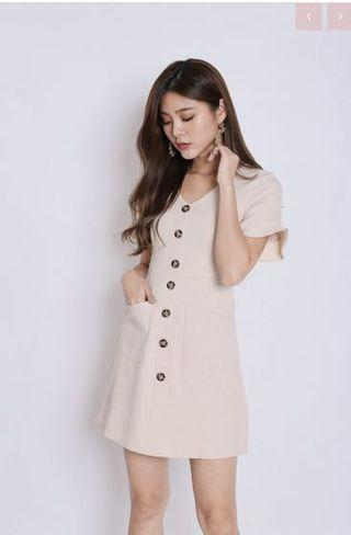 Beige Button Down Dress