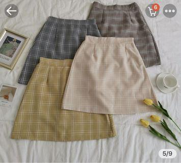 Grey Checkered Skirt
