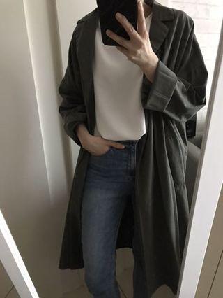 全新墨綠色外搭罩衫風衣(F)