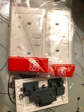 MK 2 Gang Plug Socket 2 pole 13A