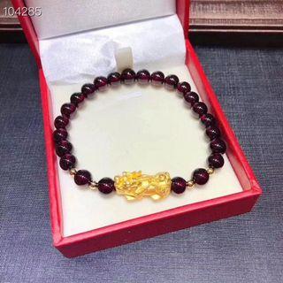 Real 999 gold Pixiu with Garnet bracelet