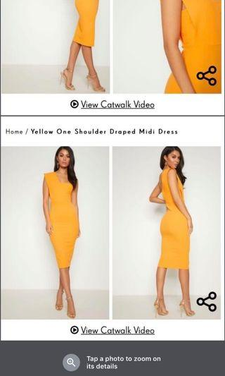 Yellow One Shoulder Midi Dress