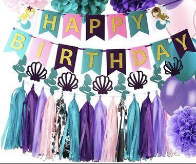 Happy Birthday Banner / Bunting (Mermaid Theme)