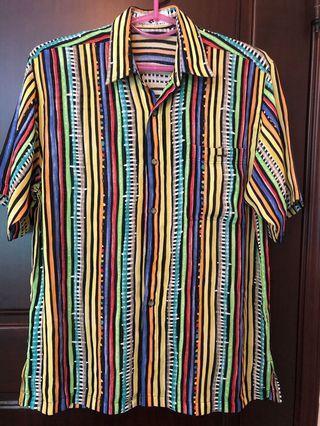 🚚 直條紋色彩古著襯衫(48號)