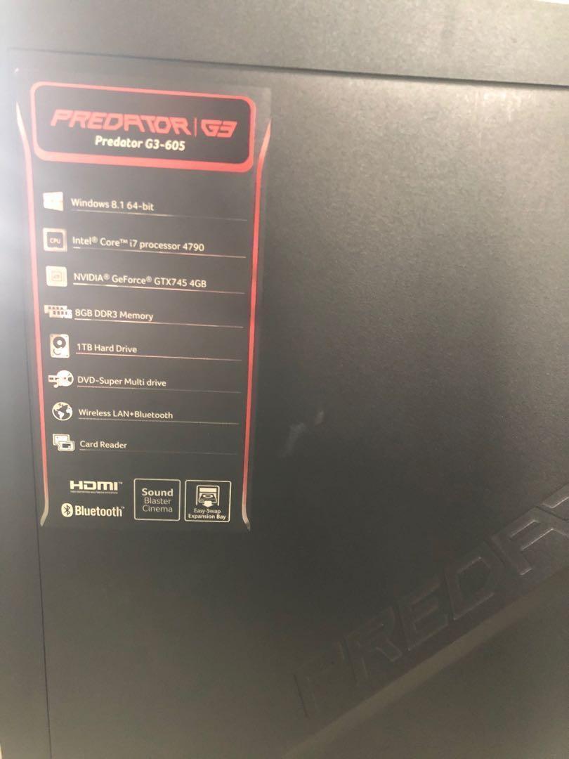 Acer predator gaming desktop, Electronics, Computers