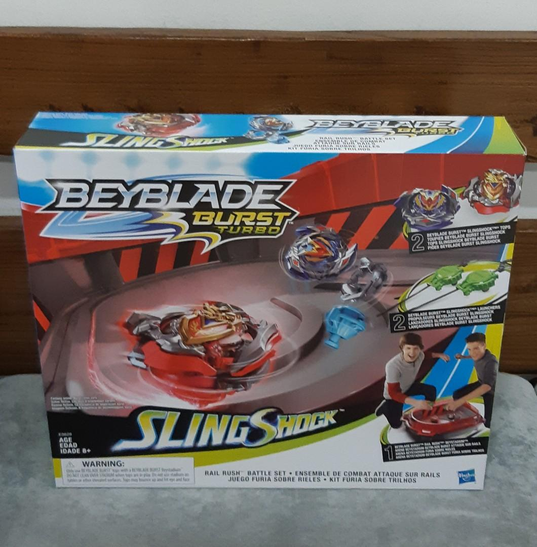 Ready stock) Beyblade Burst Turbo Slingshock Rail Rush