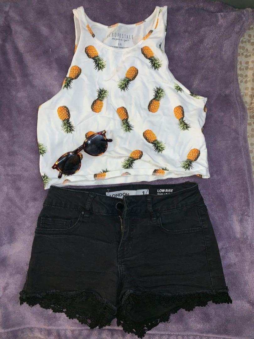 Black short ($5), and white pineapple tank top ($4)
