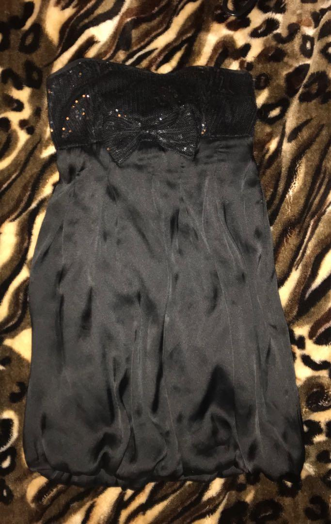 Cute Black Strapless Evening Dress - Size S / Small