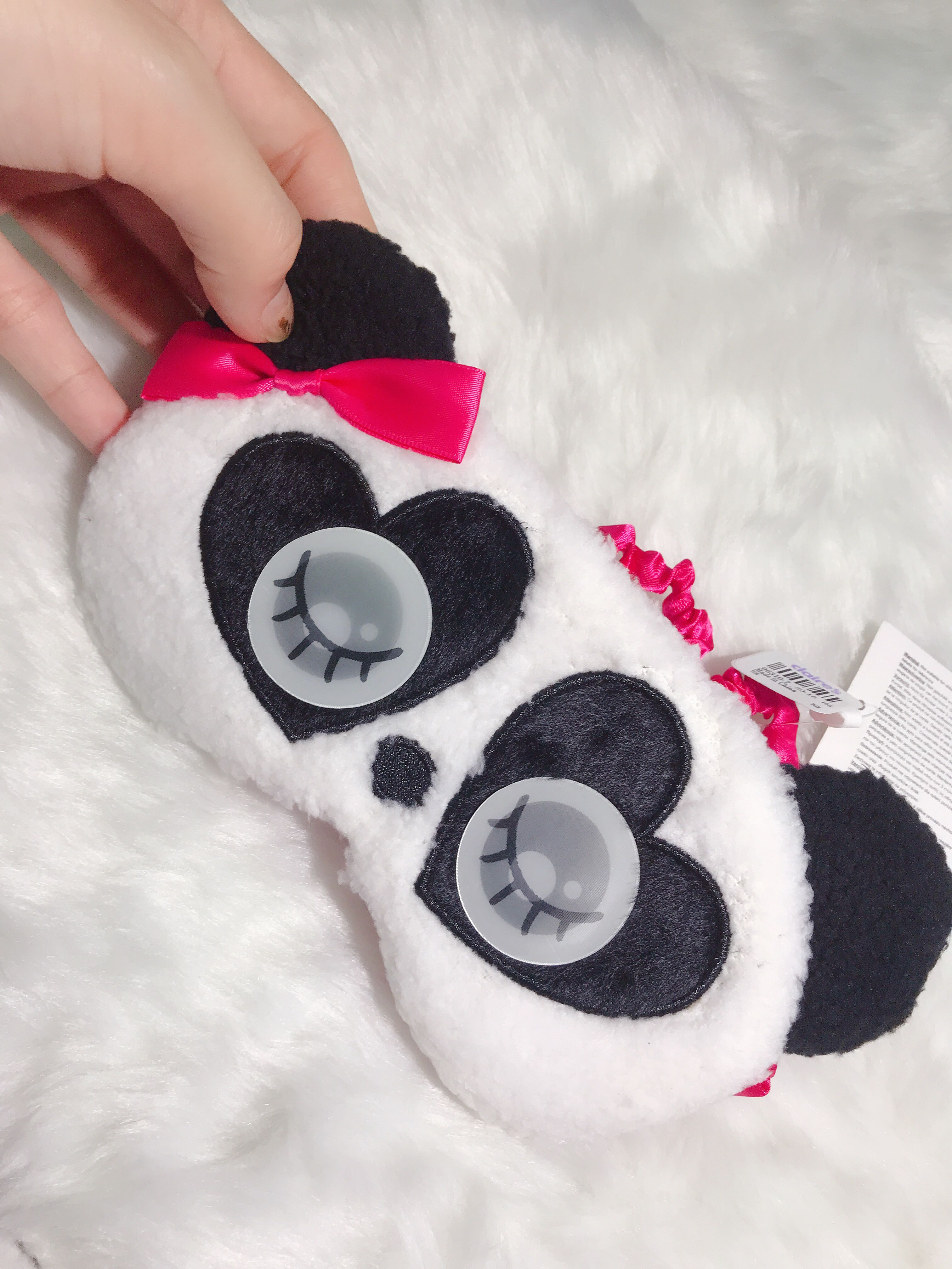 Claires cute black and white panda and pink base plane eye mask