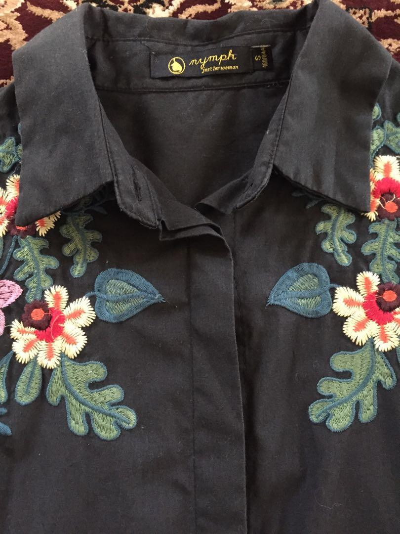 Embroidery Blouse Black Top