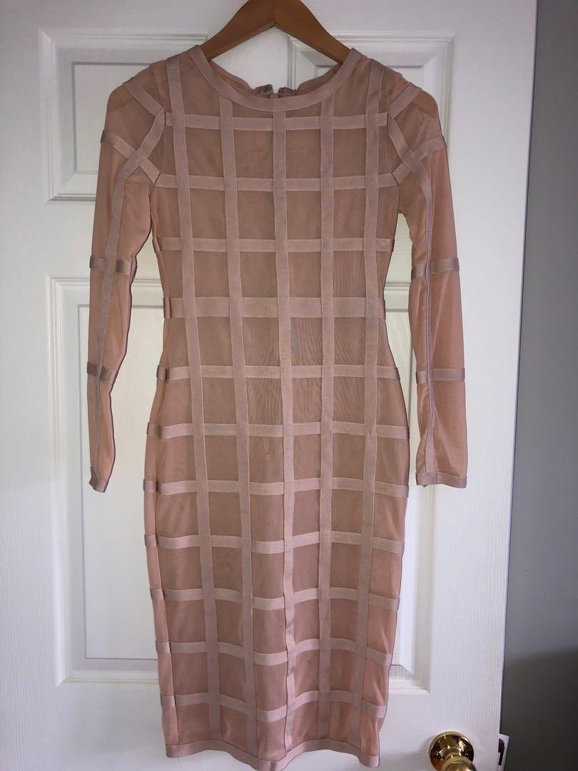 Hot Miami Styles sheer/bandage blush dress (small)