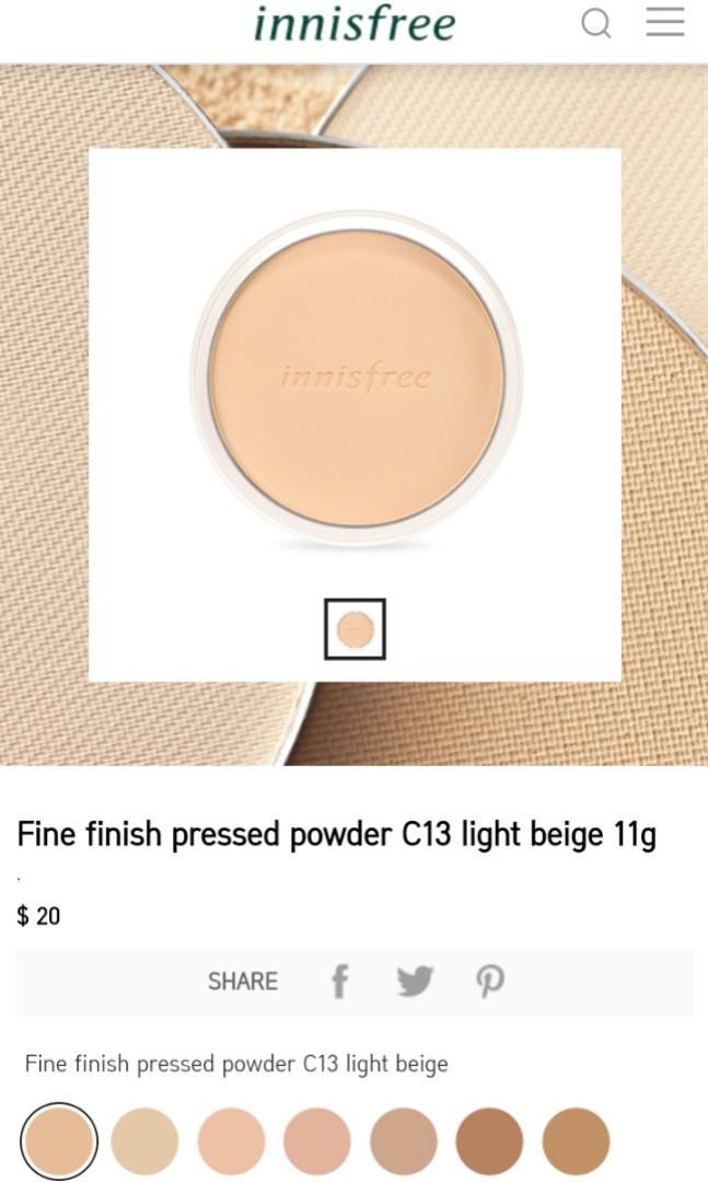 Innisfree fine finish pressed powder C13 light beige REFILL