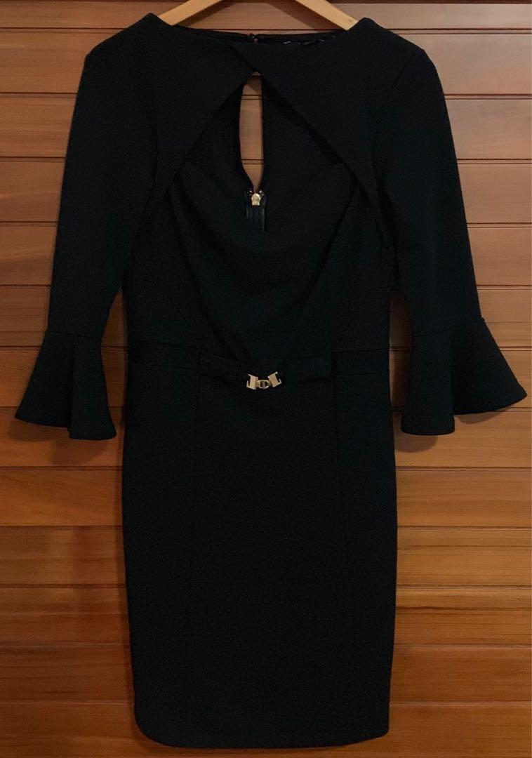 Lipsy London black dress with cut out, bell sleeves & gold belt Size L